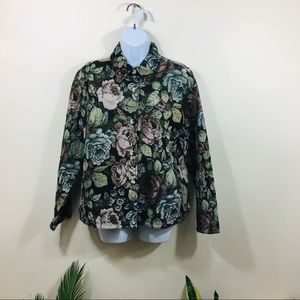 Lemon Grass Womens Jacket Size Small Floral Tapest